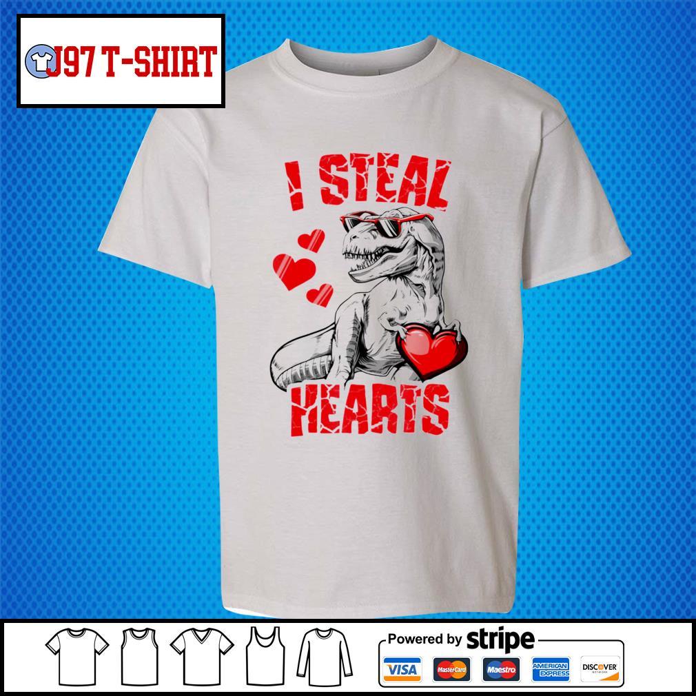 Dinosaur T rex lover I steal hearts valentine s Kid-T-shirt