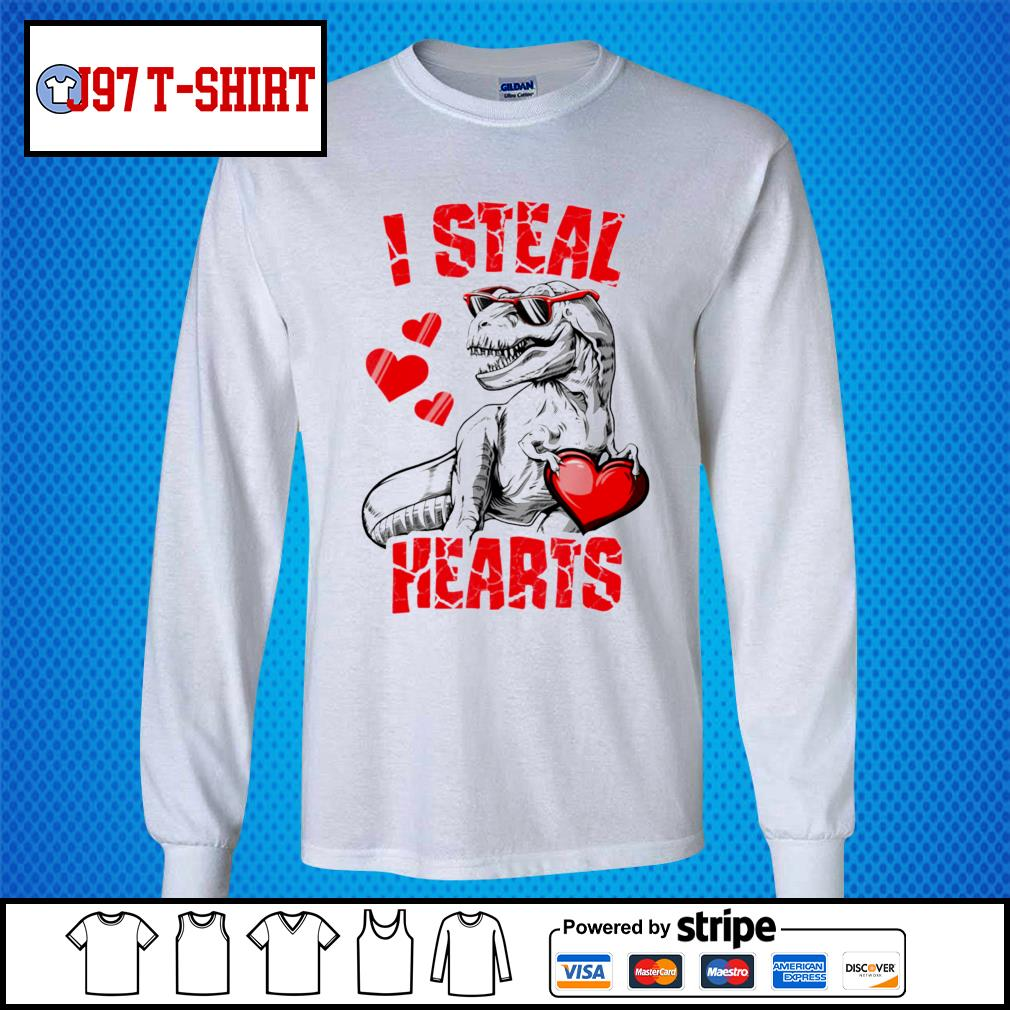 Dinosaur T rex lover I steal hearts valentine s Long-Sleeves-Tee