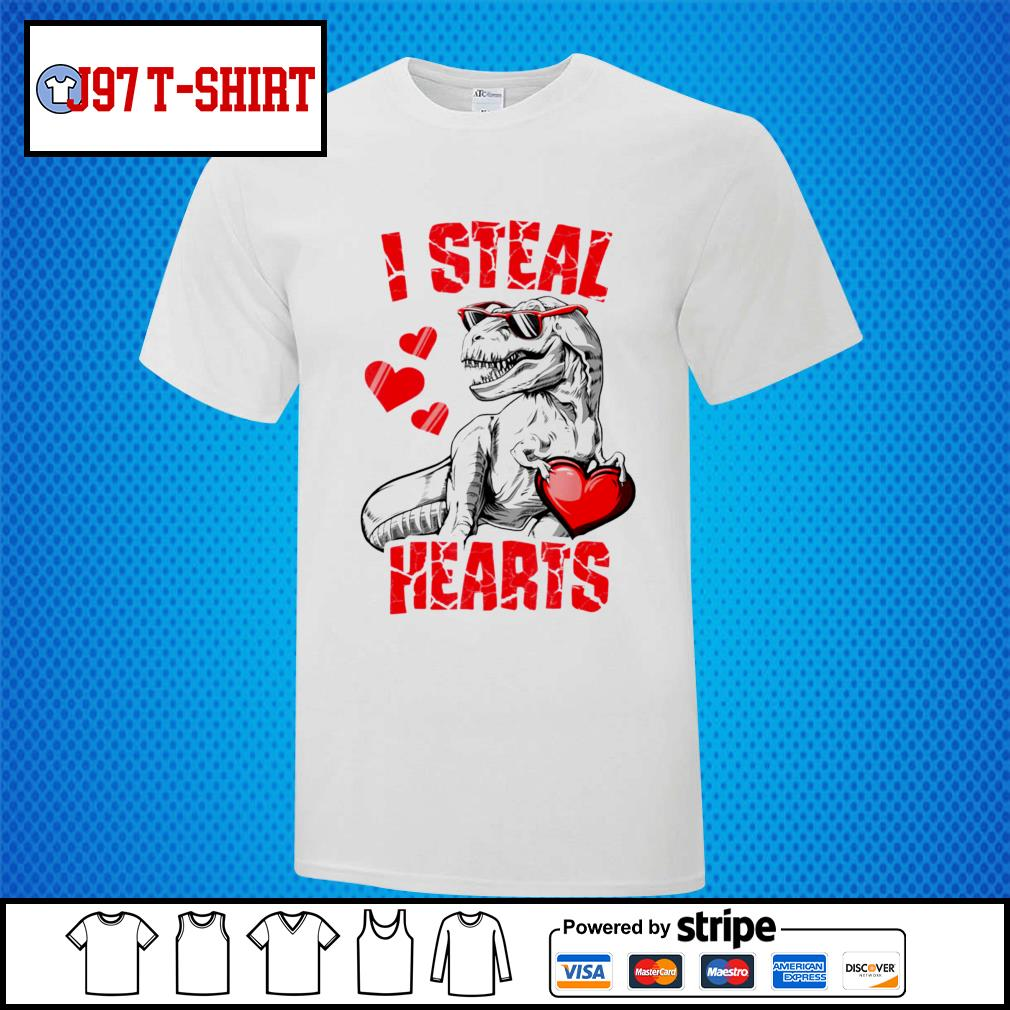 Dinosaur T rex lover I steal hearts valentine shirt