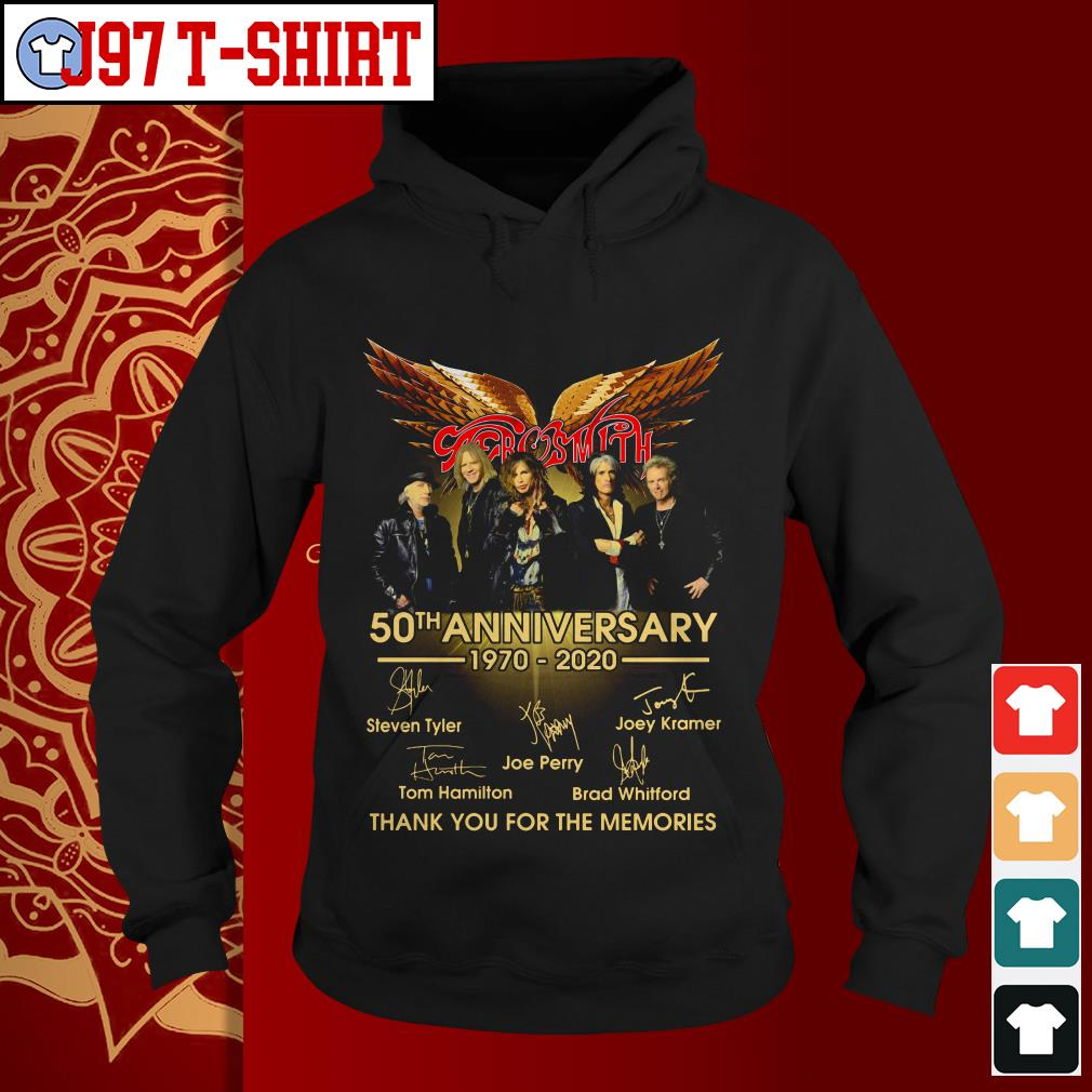 Aerosmith 50th anniversary 1970-2020 signatures thank you for the memories Hoodie