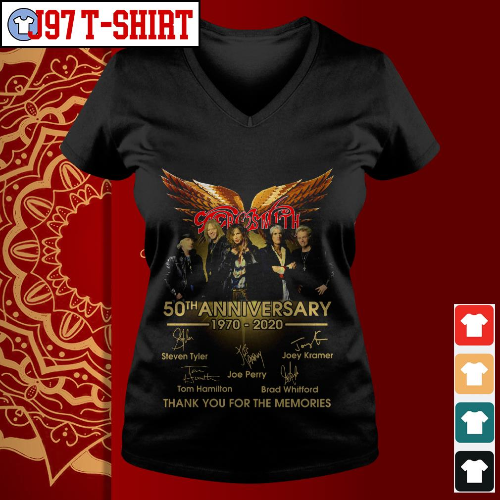 Aerosmith 50th anniversary 1970-2020 signatures thank you for the memories V-neck t-shirt