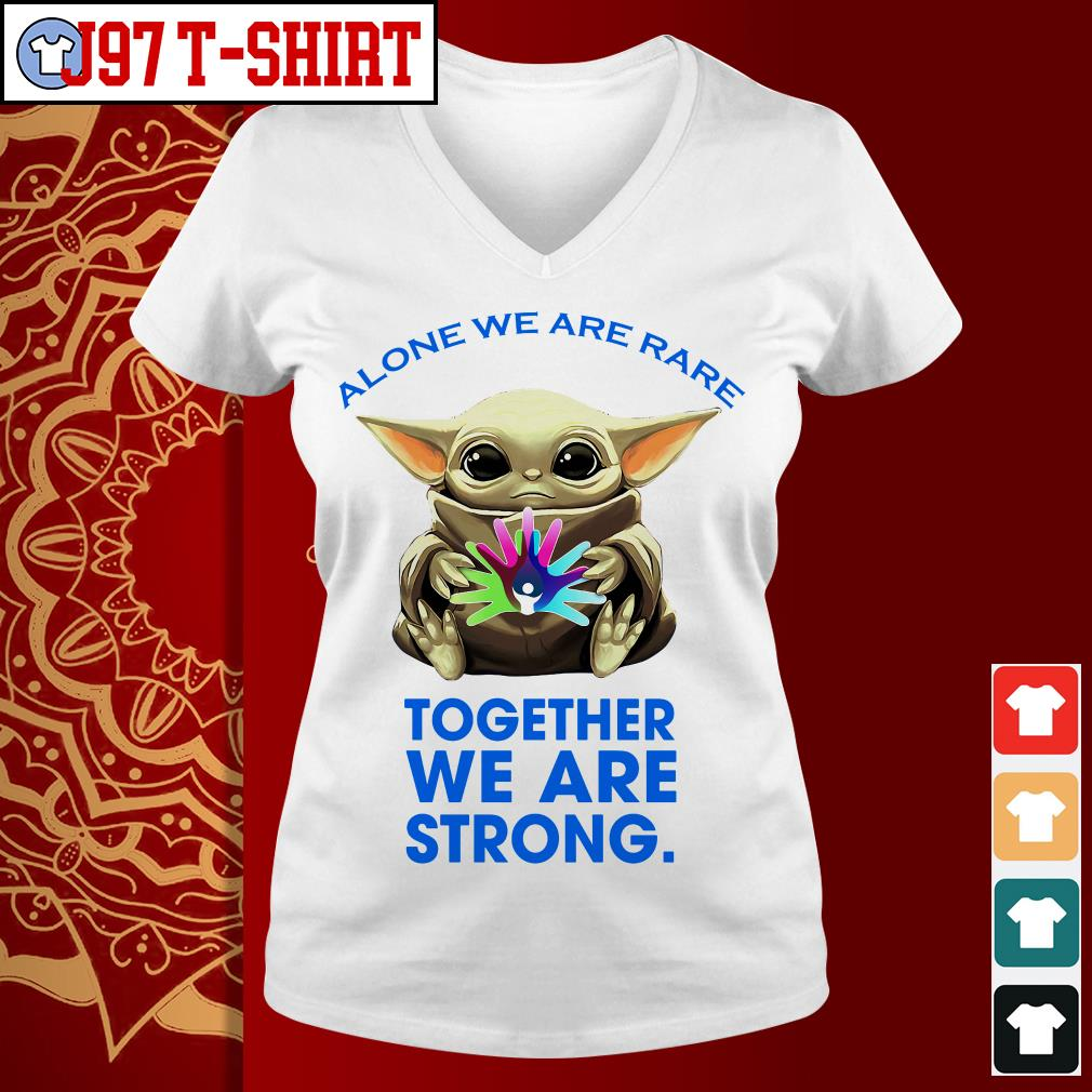 Baby Yoda alone we are rare together we are strong V-neck t-shirt