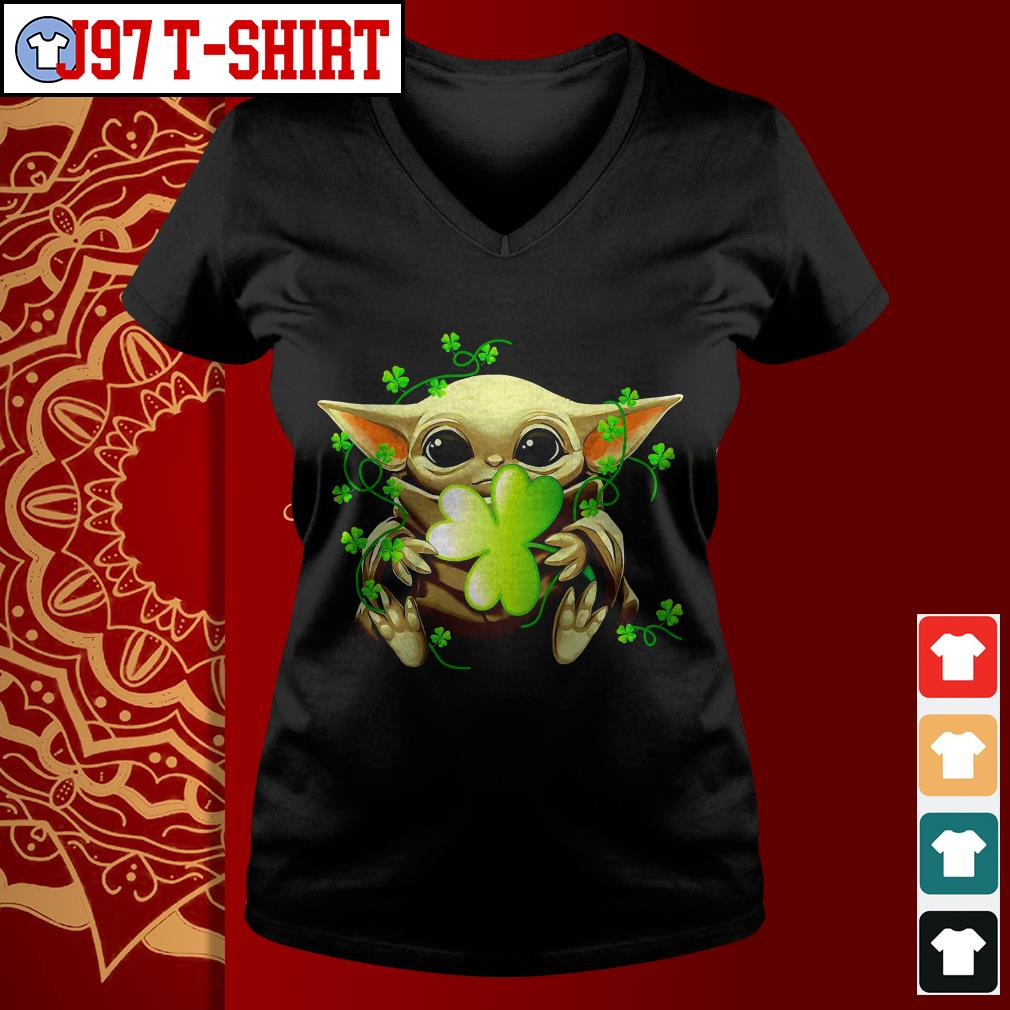 Baby Yoda St Patrick's day V-neck t-shirt
