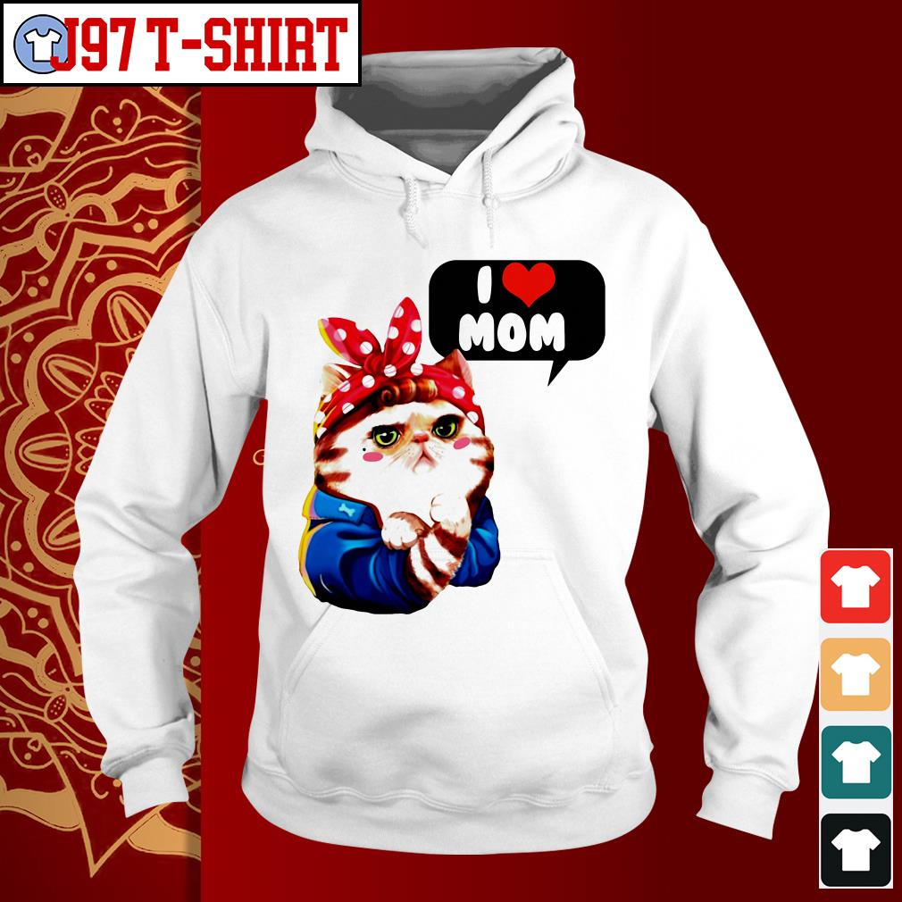 Cat bow I love mom Hoodie