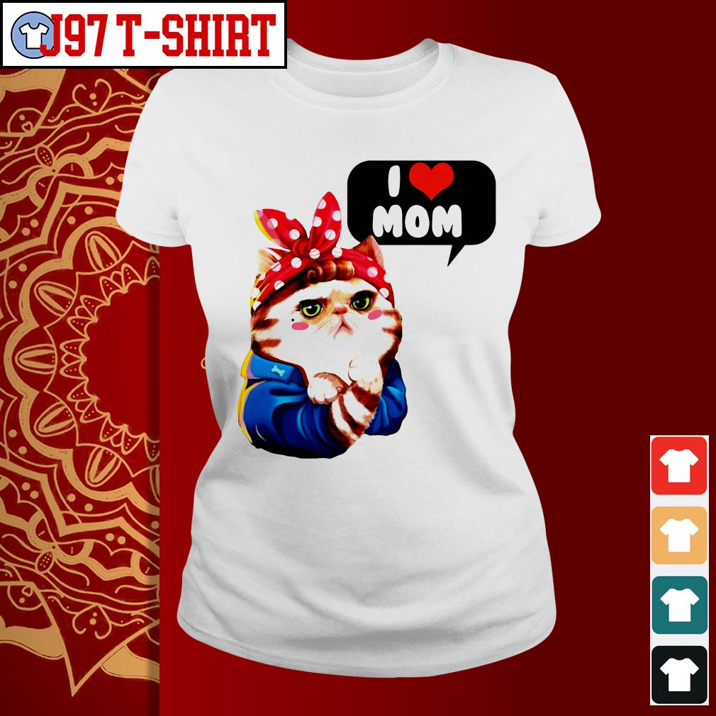 Cat bow I love mom ladies tee