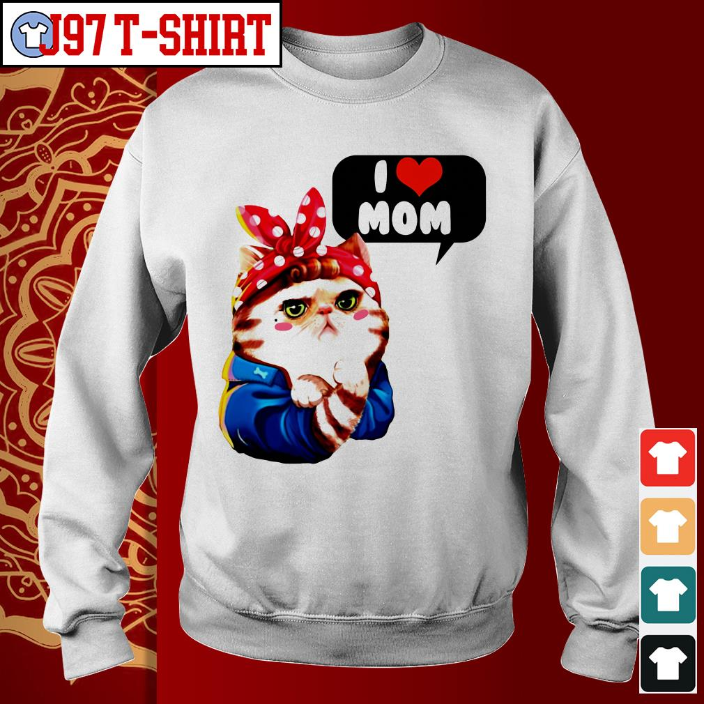 Cat bow I love mom Sweater