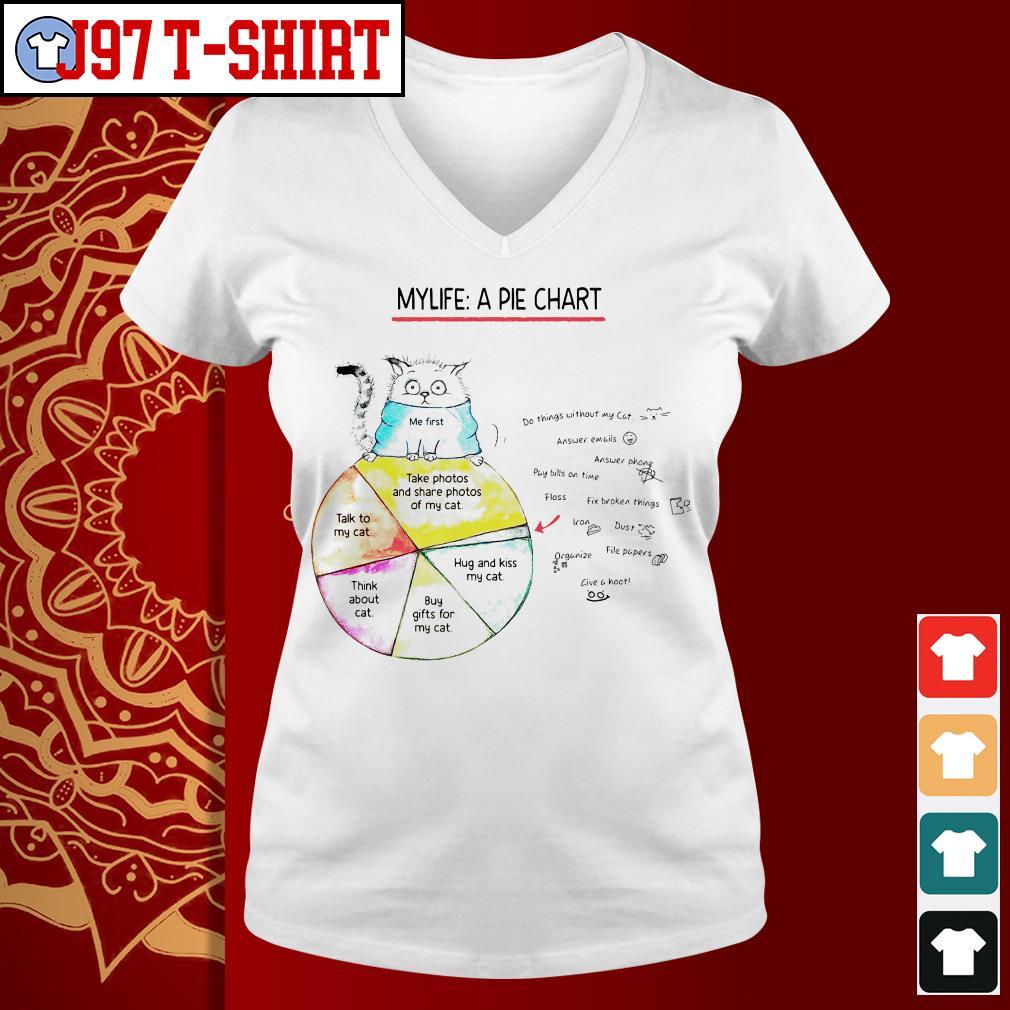 Cat my life a pie chart V-neck t-shirt