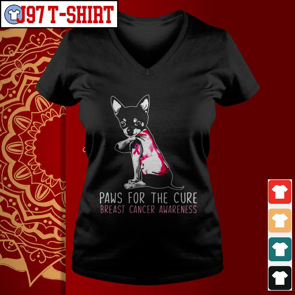 Chihuahua paws for the cure breast cancer awareness V-neck t-shirt